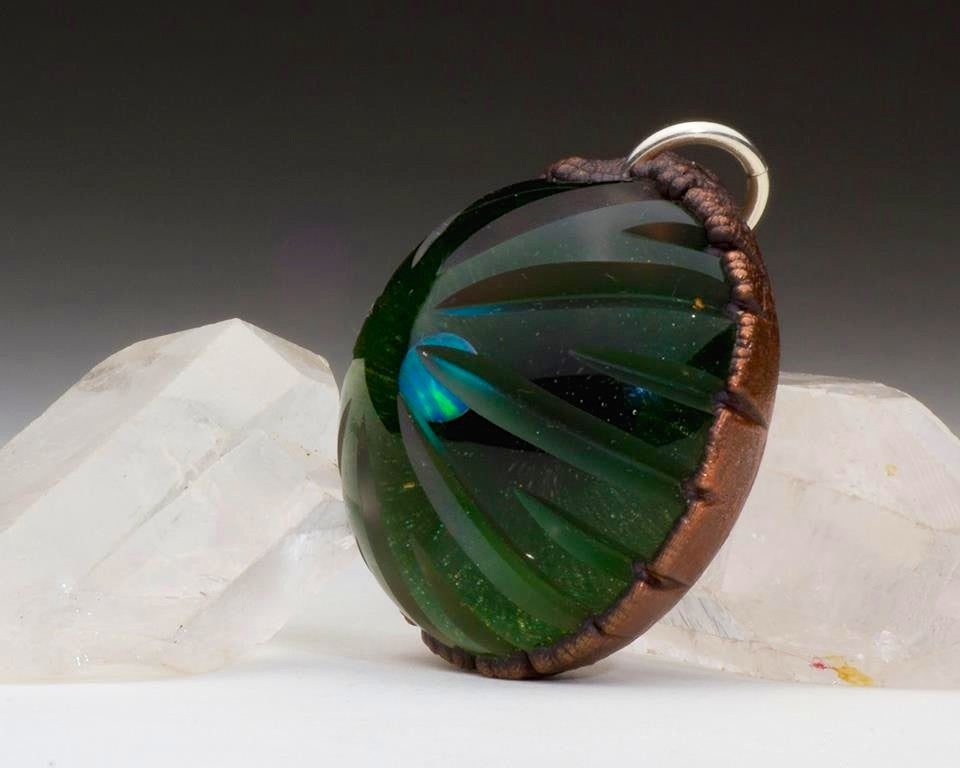 Brent Graber Electroformed, Carved, UV-Fumed, Opal-Encased Pendant