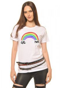 T-Shirt Girl Power Arco-Íris