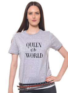 Camiseta Joss Cinza Mescla Estampada Queen Of The World