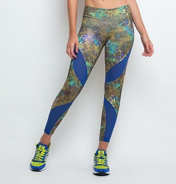 Calças Fitness-Calça Fuso Suplex Point de Ouro com Tela - New Collection I Love Rio