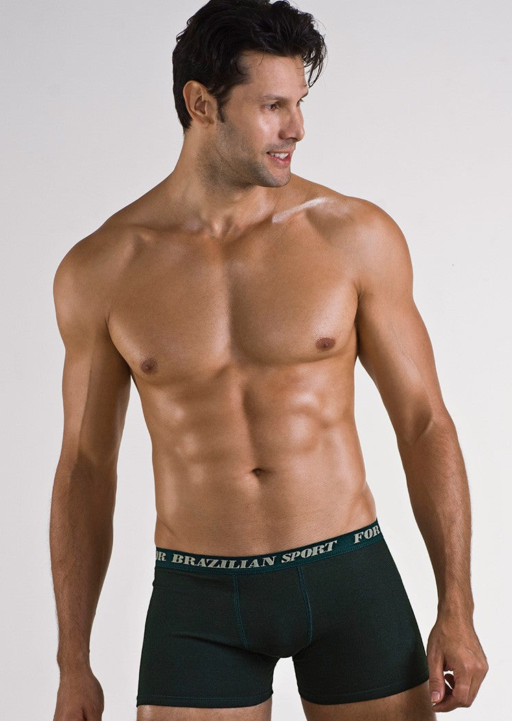 Cuecas - Cueca Adulto Boxer De Cotton Sem Estampa 8029