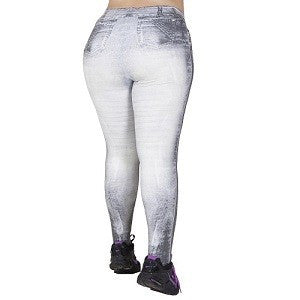 Plus Size - Calça Legging Plus Size Fake Jeans