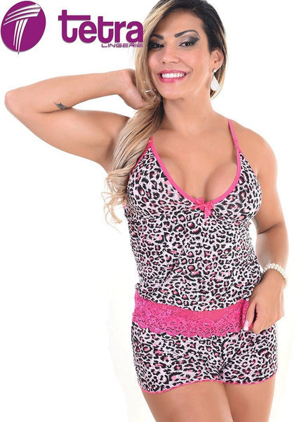 Short Doll de Liganete Estampada e Renda 2766