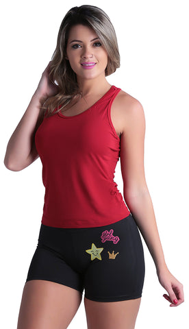 Short Fitness - Short Fitness Liso Com Patches