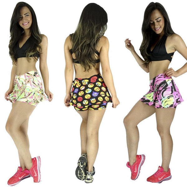 Short Fitness-Short Saia Estampado