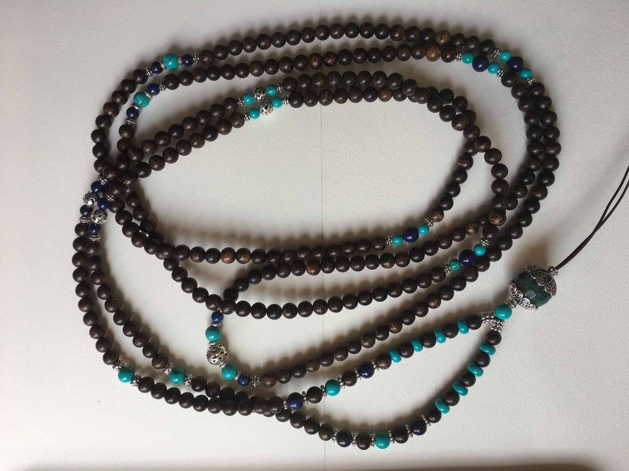 Agarwood silver jewelries Agarwood beads and turquoise custom made- RESERVED