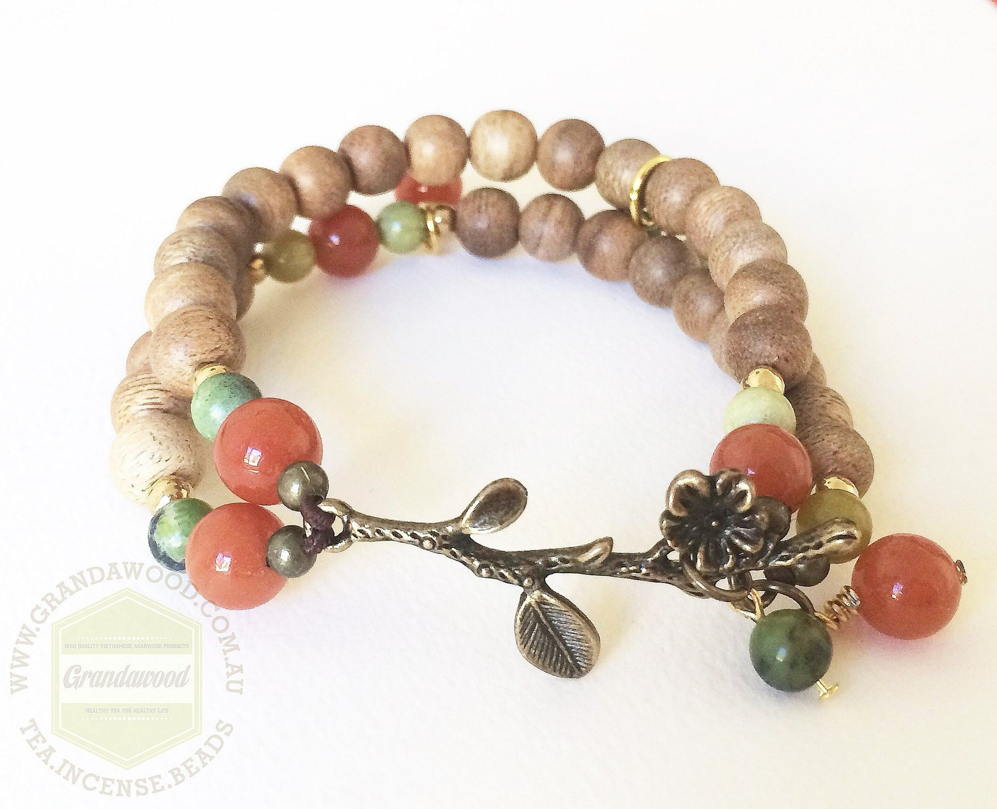Agarwood silver jewelries Agarwood lucky charm with red aventurine and grass turquoise bringing fortune and wealth