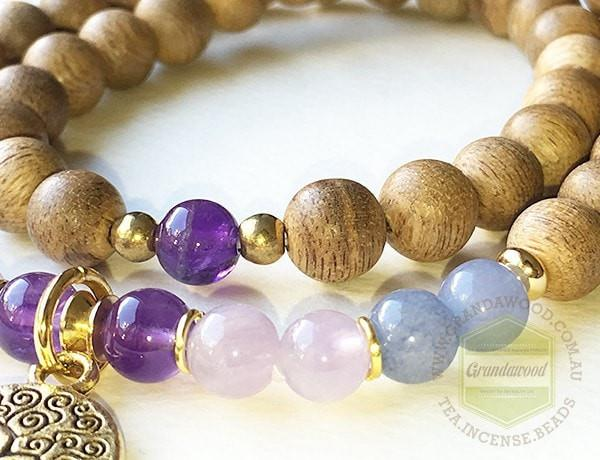 Agarwood silver jewelries Amethyst , Aquamarine gemstones bracelet