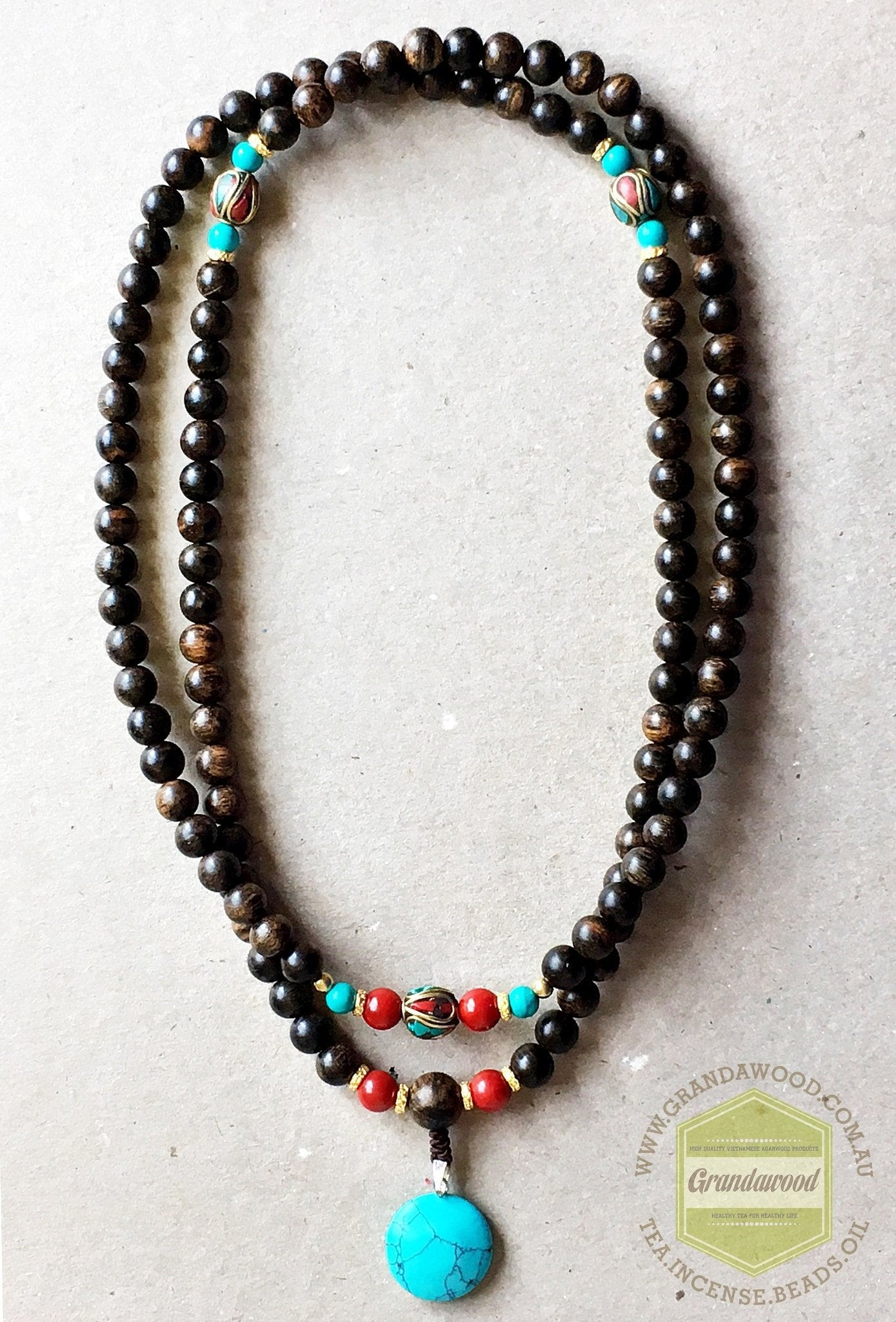 Agarwood silver jewelries SOLD- Agarwood Mala 108 mixed with Nepalese beads