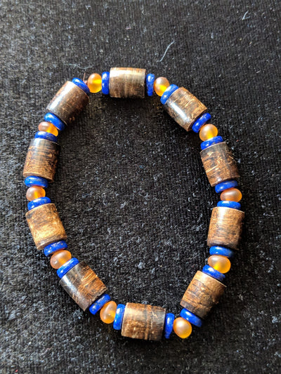 Agarwood silver jewelries The Protection *New* Sinking Agarwood Bracelet with Obsidian or Amber and Blue  Lapis Lazuli- The Protection and The Callmer