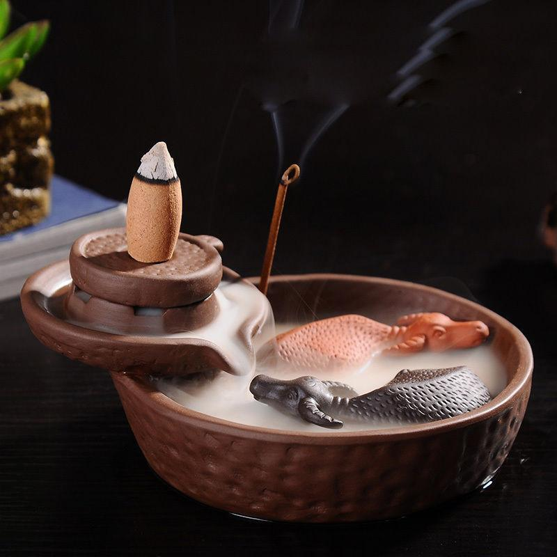 BackFlow Incense Burner For Stick or Cone Incense with 2