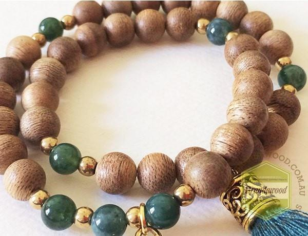 Beads Bracelet- Agarwood-Moss Agate Wealth attracting bracelet