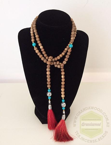 Beads Necklace- Moroccan Inspired Lariat Agarwood Turquoise gemstones