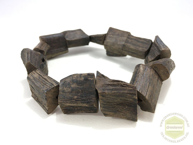 Beads *New* The Broken Beauty: Wild Raw Sinking Agarwood Bracelet non-bead