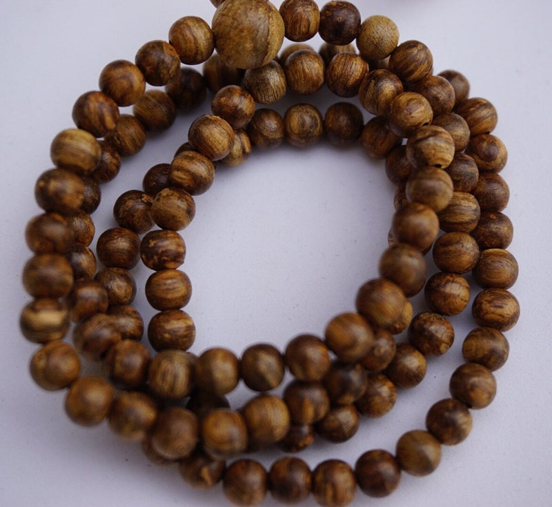 Beads Small wild Agarwood  108 mala necklace 5mm