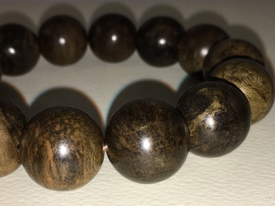 Beads SOLD- Black Panther- Wild Dark Sinking Agarwood Bracelet 16mm over 30g