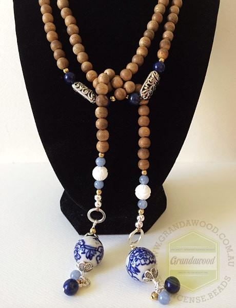 Beads SOLD-Necklace- Blue Porcelain Lariat Agarwood gemstone