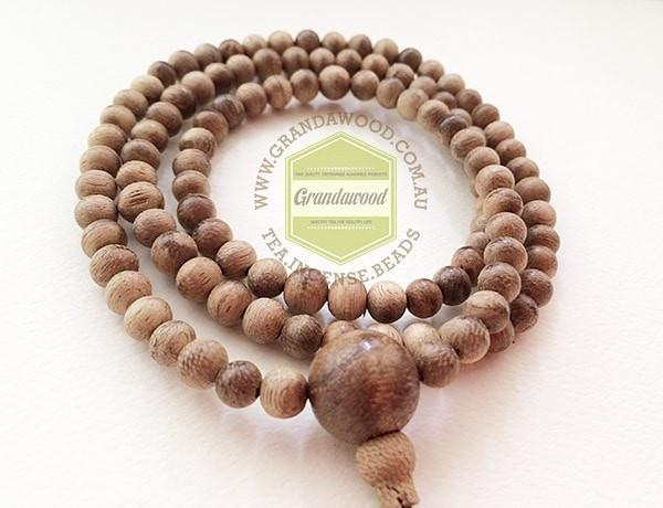 Beads SOLD- Wild Agarwood natural prayer 108 mala beads from Papua New Guinea (PNG) 6mm