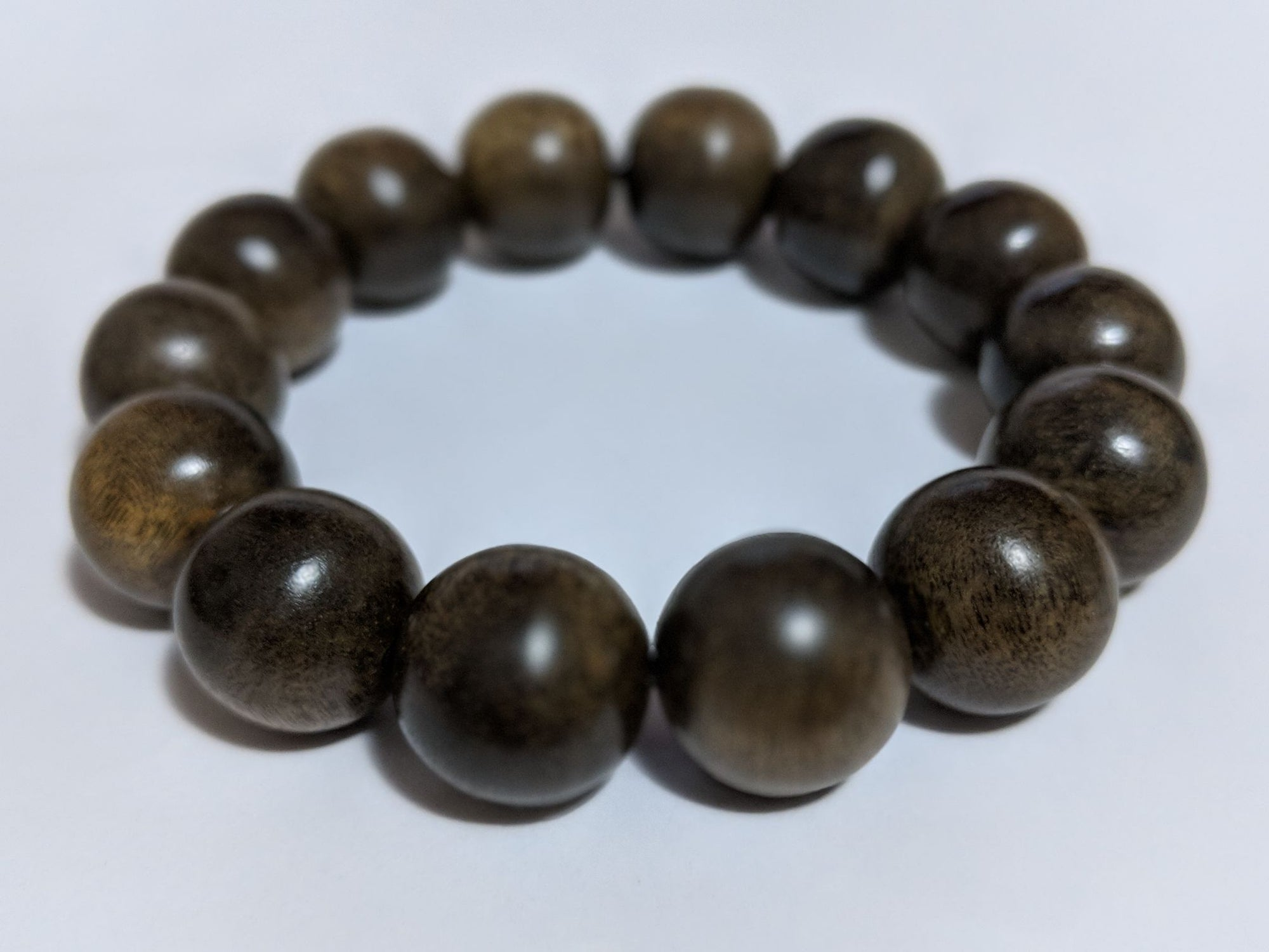 SOLD Wild Agarwood Bracelet made from heart wood 16mm 14 beads 32g - The Moonless - Grandawood- Agarwood Australia