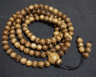 Wild Borneo Agarwood 108 mala necklace and pendant silver covered - Grandawood- Agarwood Australia