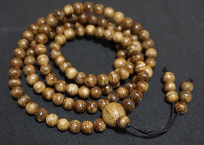 Wild Borneo Agarwood 108 mala necklace and pendant silver covered - Grandawood
