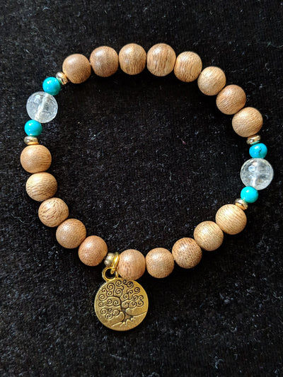 Cultivated agarwood 8mm bracelet with Tree of Life pedant, citrine and turquoise
