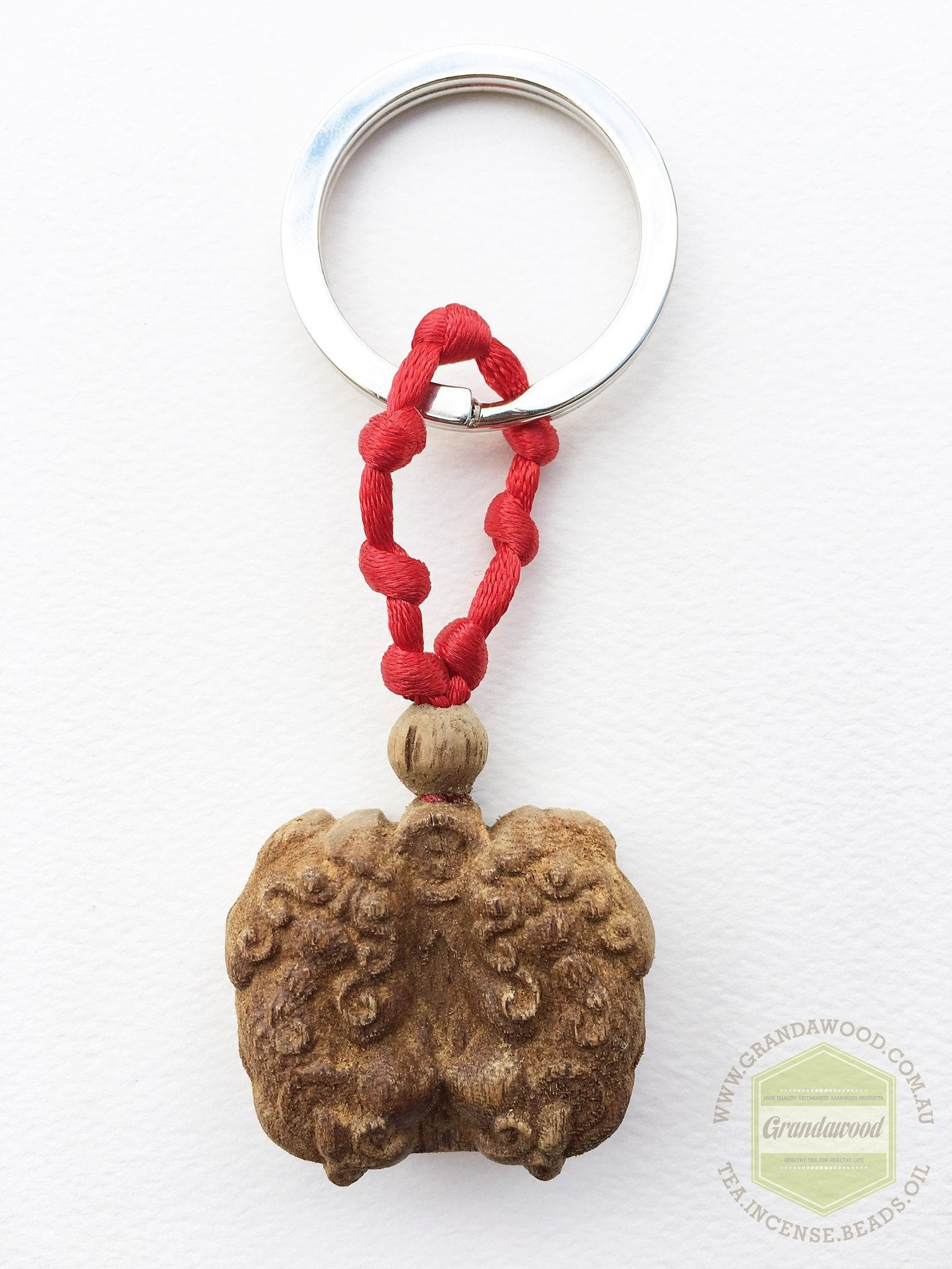 Agarwood key fob- Pair of Pi Yao (Pi Xiu) Mythical Winged Lion - Grandawood- Agarwood Australia