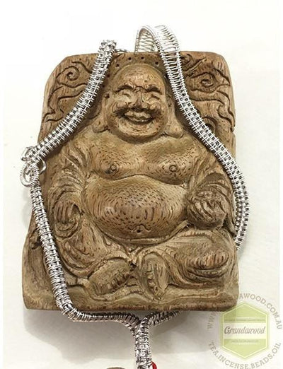 decor Buddha 1 Happy (Laughing) Buddha Wild Agarwood Car Decor with Silver Hanger