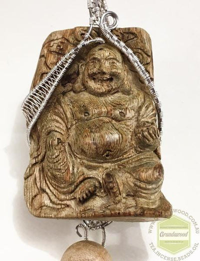 decor Buddha 2 Happy (Laughing) Buddha Wild Agarwood Car Decor with Silver Hanger