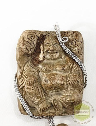 Happy (Laughing) Buddha Wild Agarwood Car Decor with Silver Hanger - Grandawood- Agarwood Australia