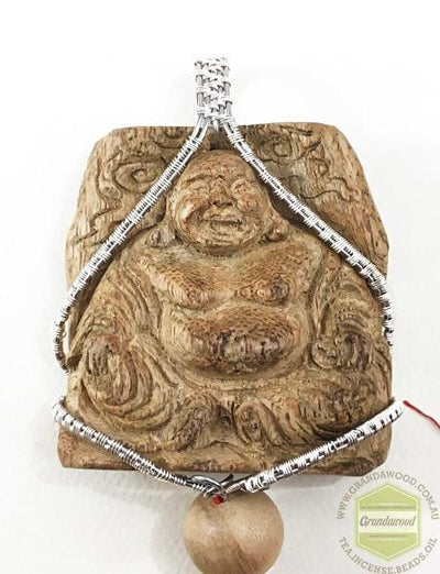 decor Buddha 5 Happy (Laughing) Buddha Wild Agarwood Car Decor with Silver Hanger