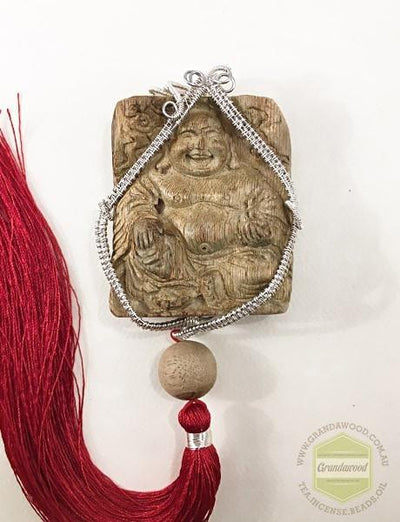 decor Happy (Laughing) Buddha Wild Agarwood Car Decor with Silver Hanger