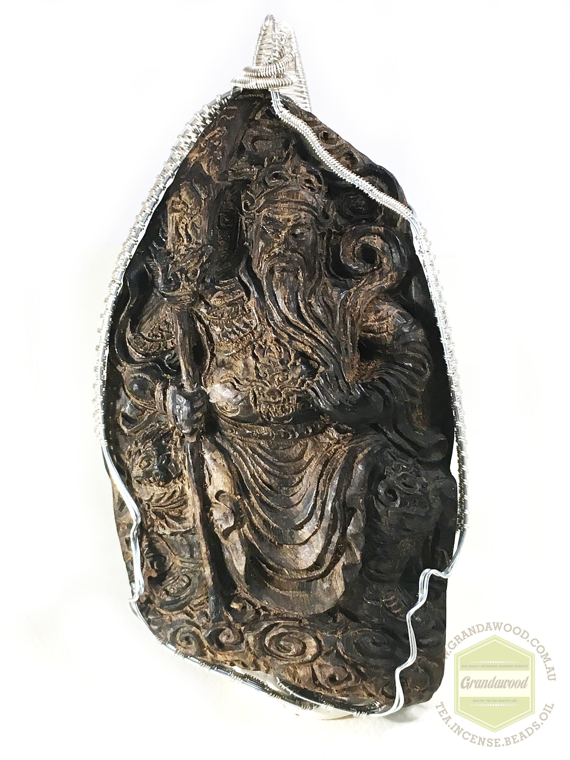 Sinking Agarwood Figurine (statue) Guan Gong The Taoist God Of War - Grandawood- Agarwood Australia