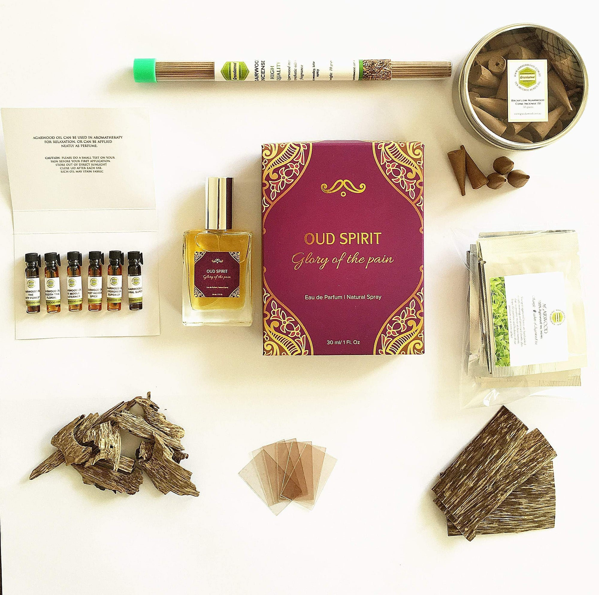 Gift sets: Super Valued  Agarwood (Oud) Pack: oil, incenses, wood chips, perfume,  and tea.