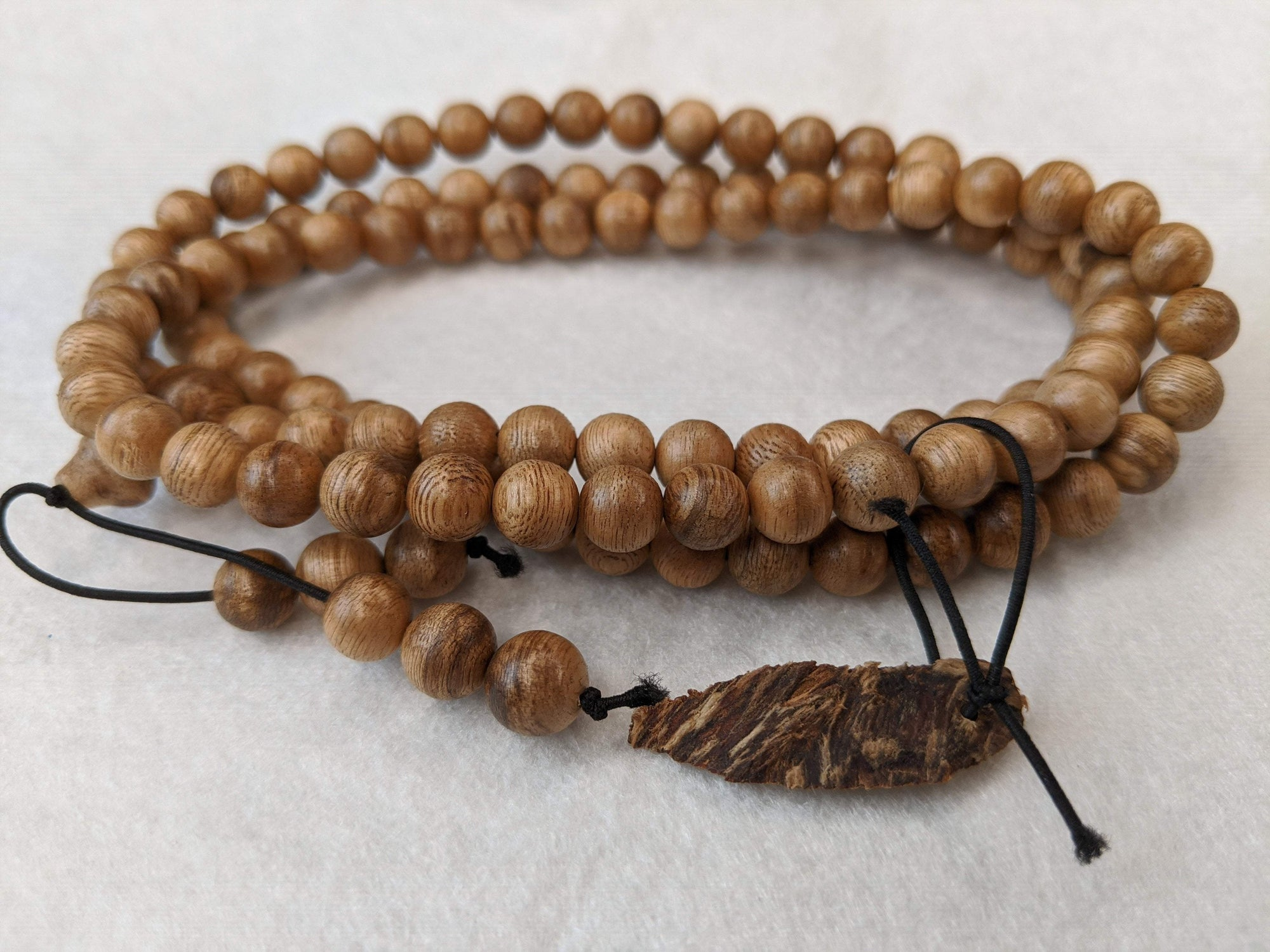 *New* 12.5 g, 8mm, Wild Borneo Agarwood 108 mala with a large piece of remaining material - Grandawood- Agarwood Australia