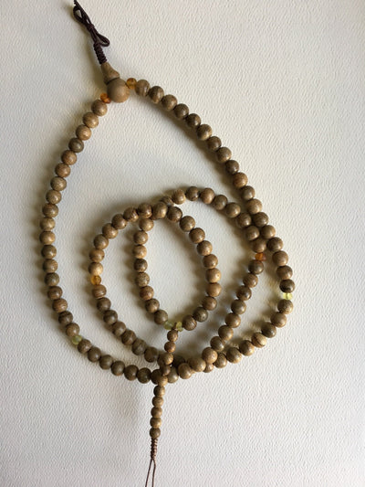 SOLD- Resinous Wild Agarwood 108 mala beads and high grade amber - Grandawood