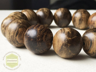 Mala beads SOLD - Spirit of the warrior: Indonesian Wild Agarwood Bracelet 16 mm half sinking