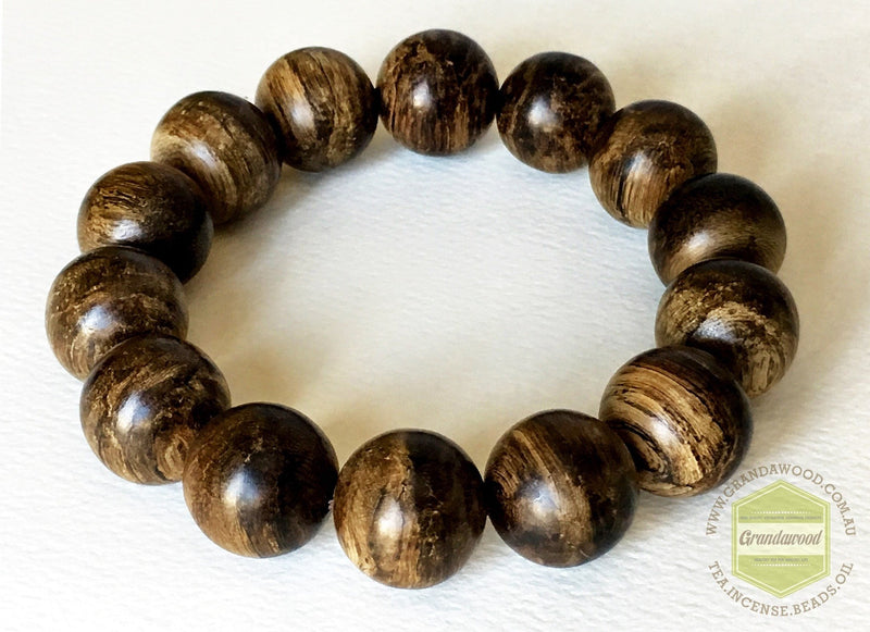 Mala beads SOLD-The Forgotten Treasure- Indonesian Wild Agarwood Bracelet 16 mm half sinking