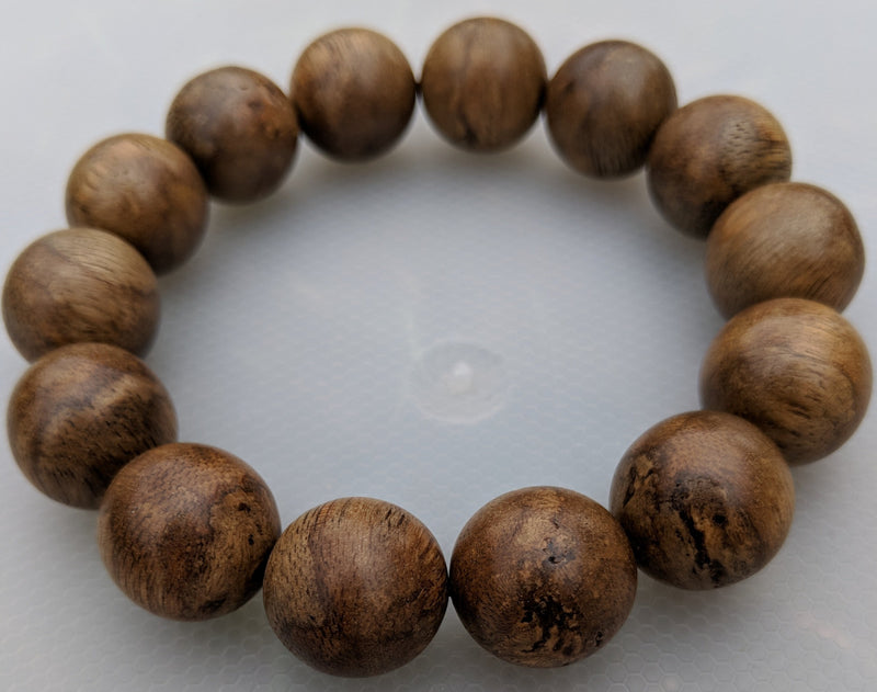 Wild Agarwood Bracelet Borneo 23g sandpaper polished 14 beads 18mm - Grandawood- Agarwood Australia