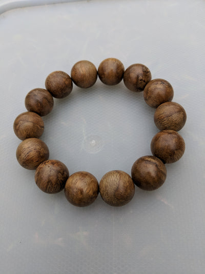 Mala beads Wild Agarwood Bracelet Borneo 23g sandpaper polished 14 beads 18mm