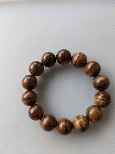 Mala beads Wild Agarwood Bracelet Borneo 24g sandpaper polished 14 beads 16mm