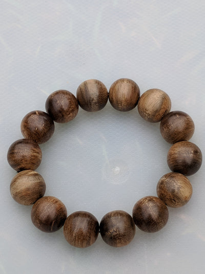 Mala beads Wild Agarwood Bracelet Borneo 28g sandpaper polished 14 beads 16mm