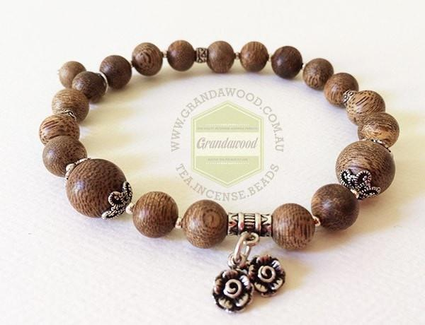 Malaysia Bracelet-  Agarwood and silver bracelet high quality- Rosa of Love