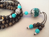 Necklace - Agarwood Turquoise mala 108 beads