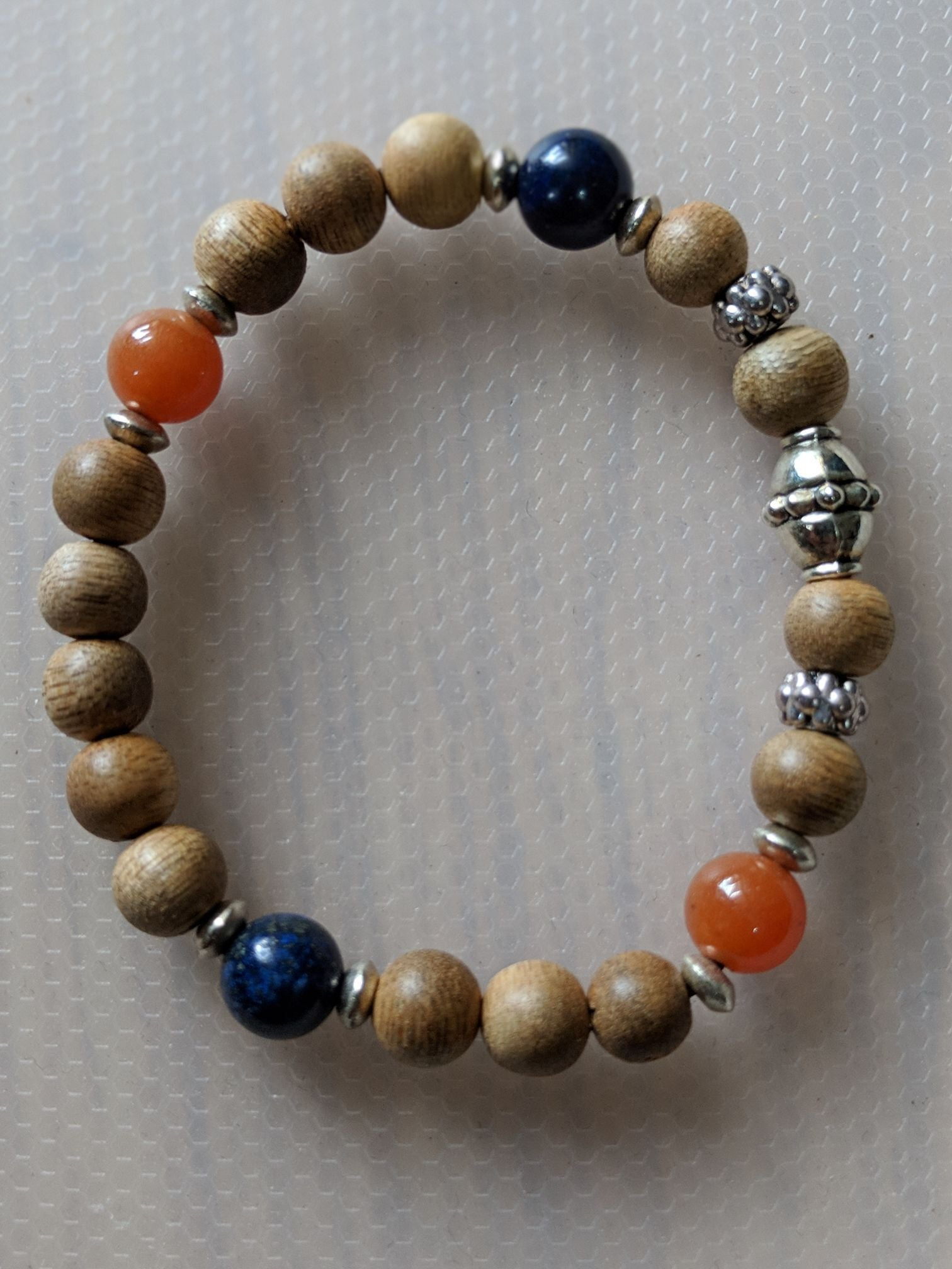*New* The 4 Elements Metal, Wood, Water, Fire cultivated agarwood gemstone bracelet