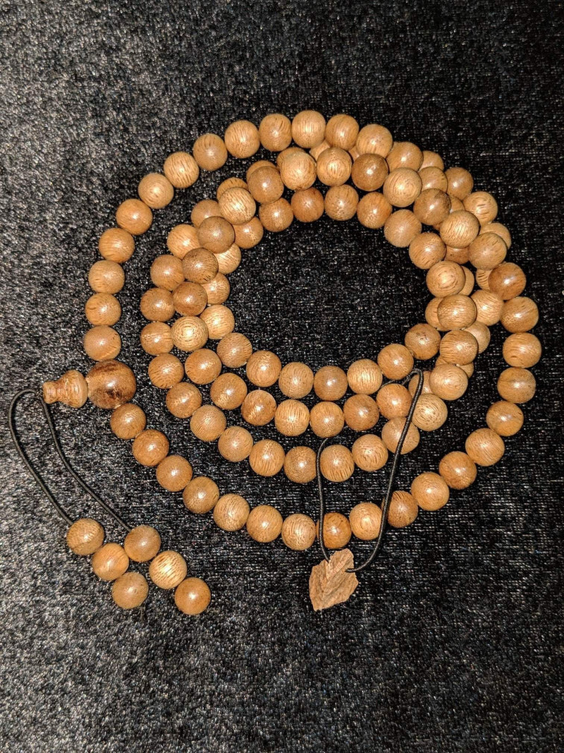 SOLD-The Contentment Wild Borneo Agarwood Mala 8mm 20g 108 beads plus 6 extras and 1 piece of material - Grandawood- Agarwood Australia