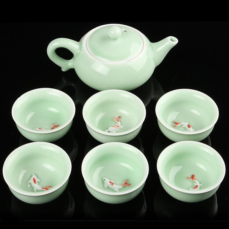Pottery Teapot Set With  6 carp cups