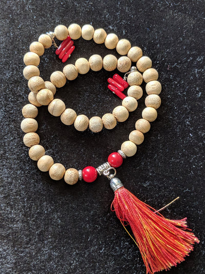 The Fire Cracker, cultivated  agarwood  45 beads 8mm with red coral