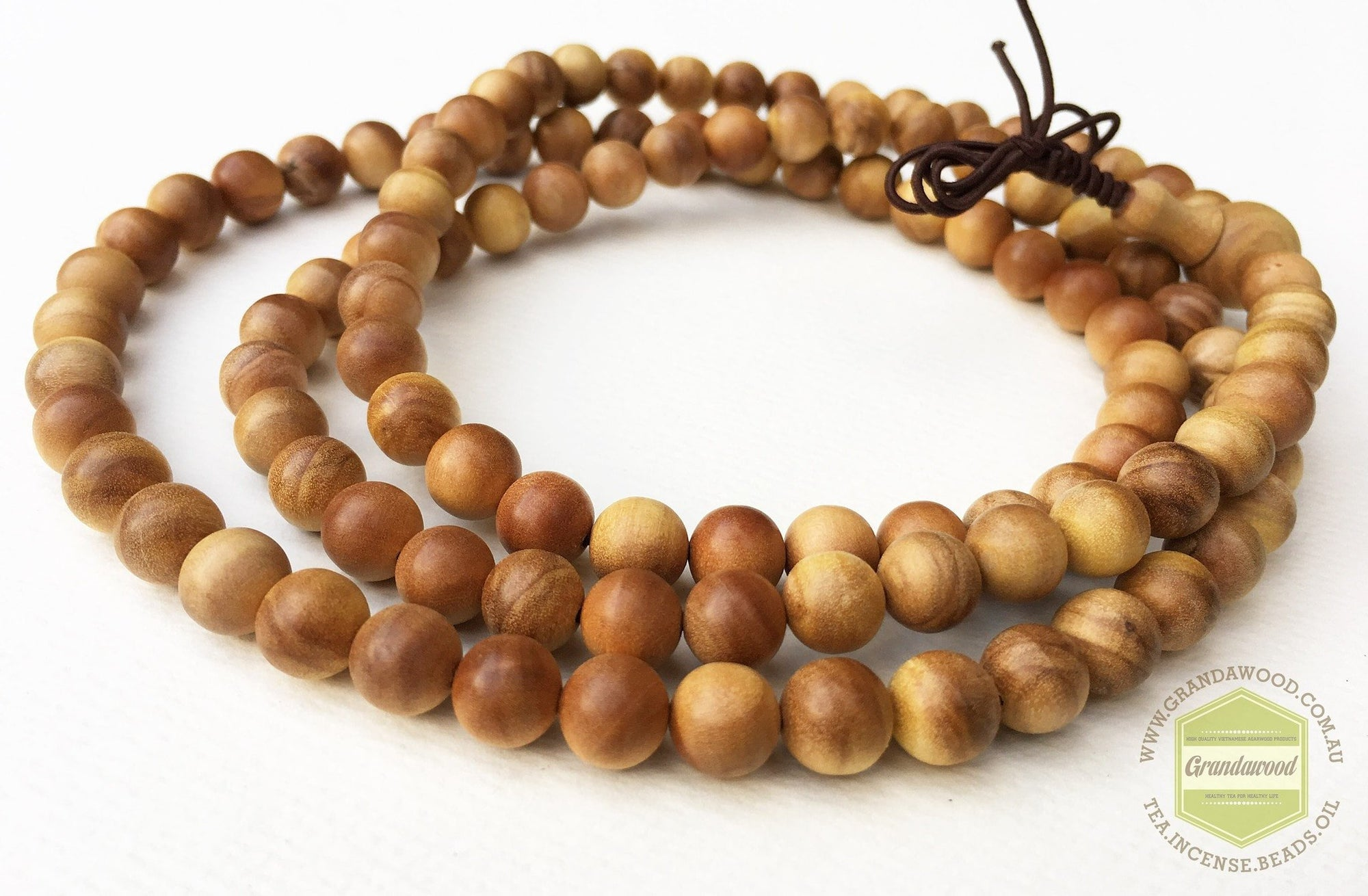 Wild Sandalwood Mala 108 8mm , the Holy Wood Scent