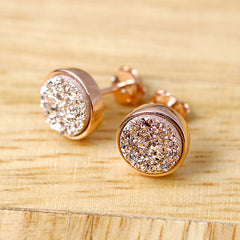 Rose gold druzy,Rose gold earrings,Stud Earrings,Geode Earrings,Druzy Earrings,Drusy Earrings,Gemstone,Silver stud,Agate Earrings,Stone earrings,